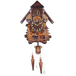 ZMYLOVE Cuckoo Wall Clock,Modern Minimalist Mute Wall Clocks Light Control Hourly Time Hand Carved Wood Clock Body Adjustable Solid Wood Pendulum Digital Cartoon Wall Clock,A