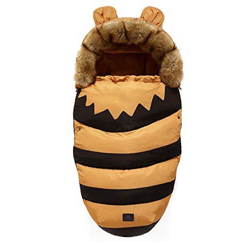 Drizzle Baby Swaddle Decke Indoor Outdoor Flanell Anti Kick Baby Schlafsack Wasserdicht Warm für Kleinkinder Neugeborene Jungen Mädchen 0-36 Monate Baby Quilt (Bee)