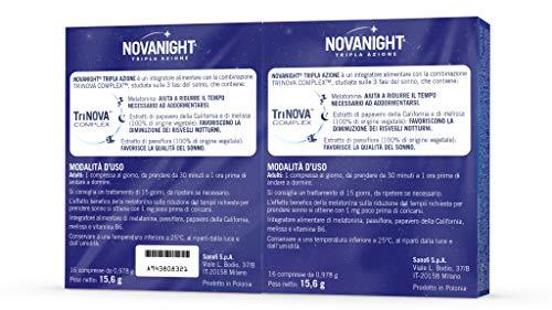 Novanight Tripla Azione Integratore alimentare con Melatonina, estratti di Papavero della California e di Melissa e con estratto di Passiflora - 32 compresse (16+16) Una volta al giorno