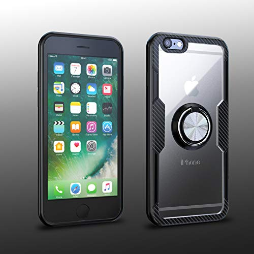 iPhone 6 / iPhone 6S Case | Transparent Crystal Clear Cover | Carbon Fiber Trim & Rubber Bumper | 360° Rotating Magnetic Finger Ring | Kickstand | Compatible with Apple iPhone 6 / iPhone 6S - Black