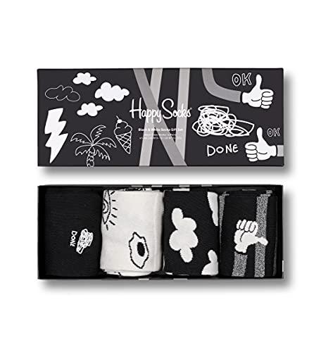 Happy Socks Unisex 4-Pack Set Socken, Black and White Gift Box 4er Pack, 41-46