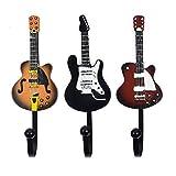 KUNGYO Juego de 3 Ganchos Decorativos Guitarra Forma Vintage Perchero de Pared para Colgar Sombrero,Abrigos,Teclas,Bolsa,silenciador (B-Guitar Hooks)
