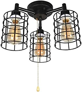 Baiwaiz Industrial Ceiling Light with Pull Chain, Metal Wire Cage Semi Flush Mount Ceiling Lighting Steampunk Pull String Light Fixture 3 Lights Edison E26 076
