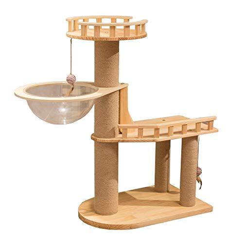LiPengTaoShop Kratzbaum Cat Turm Katze Möbel Cat Condo Katze Zubehör Massivholz Kratzbaum Mit Plattform Und Die Raumkapsel Aktivität Turm (Color : Beige, Size : 108 * 45 * 103cm)