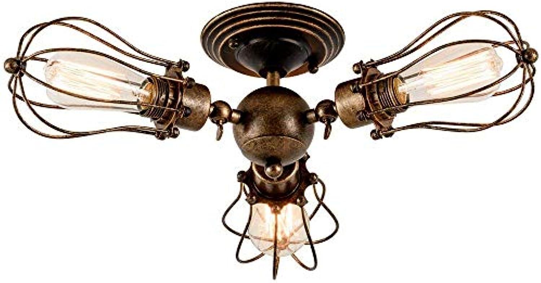 ZYY Deckenleuchte Vintage Verstellbar Metall Lampen Rustikal Deckenlampe Antik für Landhaus Schlafzimmer Wohnzimmer Esstisch (Gemalt mit l gerieben Bronze) für Wohnzimmer Schlafzimmer (3 Flammig)