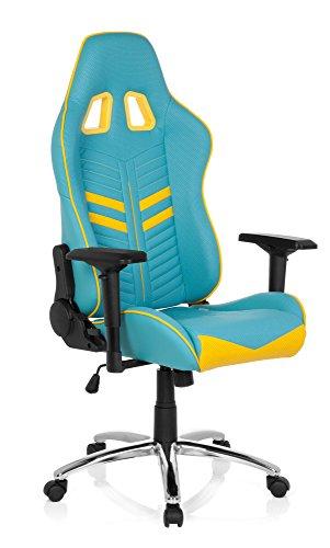 hjh OFFICE Racing-Stuhl LEAGUE PRO mit Armlehnen, ergonomischer Sportsitz, Kopfstütze, Höhenverstellbar, Zocker-Sessel, 729230 (blau gelb, Kunstleder)