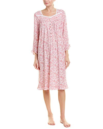 Eileen West Women's Etched Floral Modal Knit Waltz Nightgown (3X Plus) Red/White