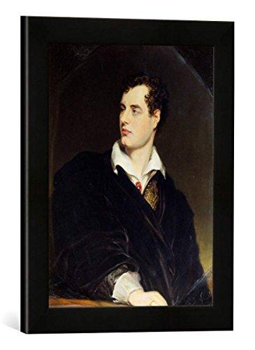 """Gerahmtes Bild von William Essex Lord Byron After a Portrait Painted by Thomas Phillips in 1814, 1844\"""", Kunstdruck im hochwertigen handgefertigten Bilder-Rahmen, 30x40 cm, Schwarz matt"""
