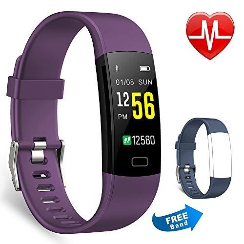 Juboury Fitness-Tracker, Aktivitätsuhr, Herzfrequenzmesser, wasserdicht, Schrittzähler, Farbbildschirm, Y5 purple, Lila + blaues Band