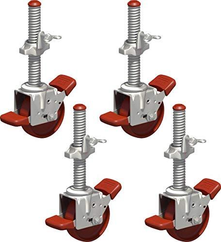 Layher Fahrgerüst Lenkrolle 400 spindelbar - 4er Set - Gerüst Räder für Rollgerüste