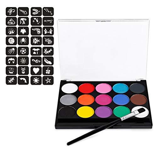 Naugust 15 Farben Wasserlösliche Körperbemalung Pigmente Professionelle Gesichtsbemalung Kit für...