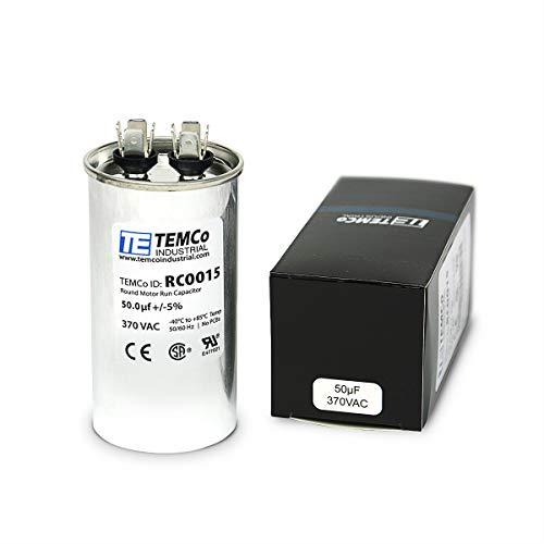 TEMCo Motor Run Capacitor RC0015-50 mfd 370 V VAC Volt 50 uf Round HVAC TEMCo AC Electric