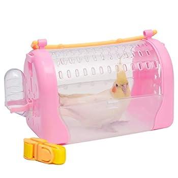 QBLEEV Cage de transport pour oiseaux - Pour petits animaux - Transparente et légère - Pour perroquets - Pour calopsittes, pinsons, inséparables