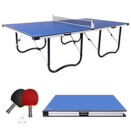 WIN.MAX 9FT Tischtennisplatte, Klappbare Tischtennistisch mit U Form Metallprofilrahmen und einstellbarem Netz 274L x 152W x 76H cm (Blau)