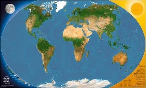 GLOW IN THE DARK Satellitenbild Weltkarte: fŸr Kinder und Erwachsene - leuchtet im Dunkeln ( 3. MŠrz 2013 )
