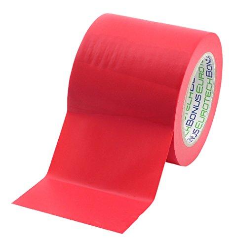 BONUS Eurotech 1BL23.45.0100/033A PVC vloermarkeringsband, lijm op rubberen basis, zacht, lengte 33 m x breedte 100 mm x dikte 0,17 mm, rood
