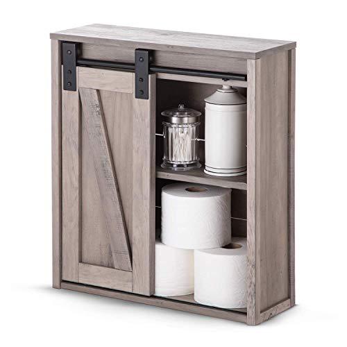 Landia Home Bathroom Wall Cabinet - Storage and Organization with Sliding Barn Door