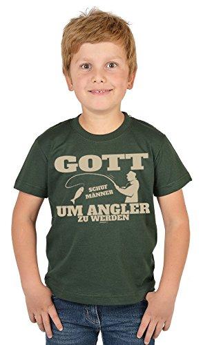 Angler Kinder-Shirt - lustige Sprüche/Motive Angeln für Kinder : Gott Schuf Männer um Angler zu Werden - Bekleidung Kinder Angeln/Angel-Sport Gr: XS = 110-116