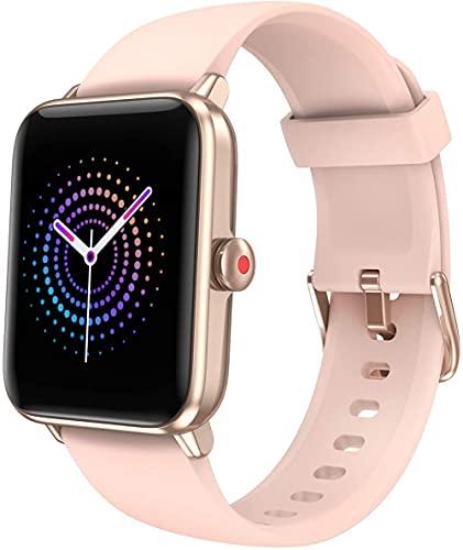 Smartwatch Mujer, 1.55' Reloj Inteligente Hombre Mujer con Integrada, Pulsómetro, Monitor de Oxígeno de Sangre, Monitor de Sueño, Monitores de Actividad Impermeable 5ATM con 14 Modos Deporte (Pink)
