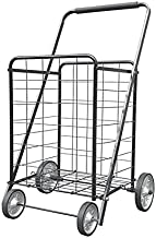XINGLANG Folding Shopping Cart, Collapsible and Heavy Duty Grocery Cart, Deluxe Multifunctional Utility Cart with Metal Wheels, 115L Capacity Large Jumbo Shopping Carts for Groceries(Black)
