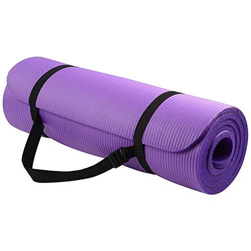 Viesky - 1 juego de esterilla de yoga y pilates (extra gruesa, antideslizante, 183 cm de largo, con correa), color morado, tamaño large