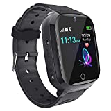 Kinder SmartWatch GPS Tracker - Kids Smart Watch Phone mit GPS LBS Tracker SOS Voice Chat Kamera HD Touchscreen für Jungen Mädchen 4-12 Y Kids Phone Watch Kompatibel mit iOS Android (Schwarz)