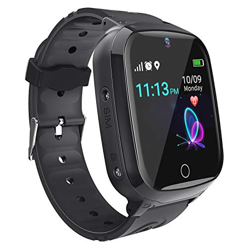Relojes para Ninos GPS Tracker Inteligente- Smartwatch Niños GPS LBS Localizador SOS Voz Chat Cámara Pantalla Táctil HD Niño Niña Reloj GPS Niñode 4-12 Años Compatible con iOS/Android (Black)