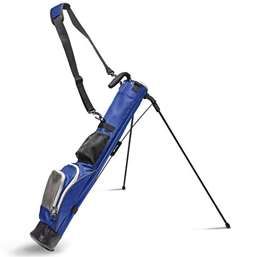 Sunday Stand Bag | Lightweight Carry Golf Bag with 3 Pockets, Speed Handle, and Padded Strap for Driving Range, Par-3, and Executive Courses (Blue)