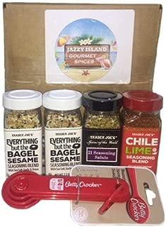 Trader Joe's Seasoning Bundle Pack-Everything but the Bagel-21 Seasoning Salute-Chile Lime Seasoning Blend with Measuring Spoons.