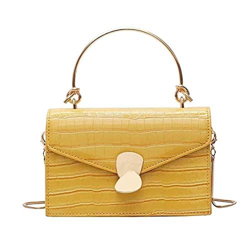 HuaRan Bolsos de cuero para mujer de grano de piedra, bolso de mensajero de cuero sintético para mujer, mini bolsa de mensajero con asa de metal (color: amarillo, tamaño: 19,5 x 13 x 9 cm)