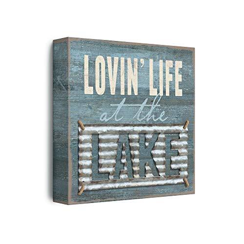 Barnyard Designs 'Lovin' Life at the Lake' Box Wall Art Sign, Primitive Lake House Home Decor Sign With Sayings, 8' x 8'