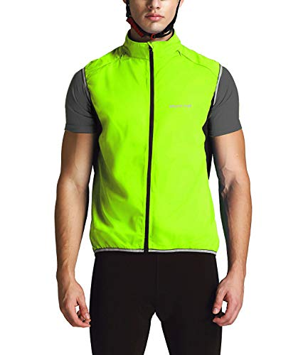 Outto Men' Reflective Running Cycling Vest for Safty and Windproof(Medium,Green)