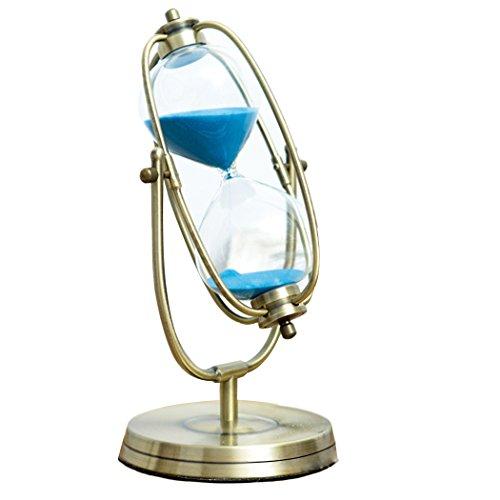 Clessidra di vetro con sabbia, per decorare la tua cucina o per le lezioni, in bronzo 30 Mins Rotating Blue in 30 Mins