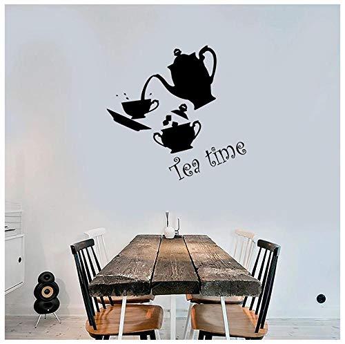 Hanzeze Theepot kunst Muurstickers Afneembare en levendige ontwerp DIY huis muur raam art deco sticker geschikt voor kinderkamer 57x58cm