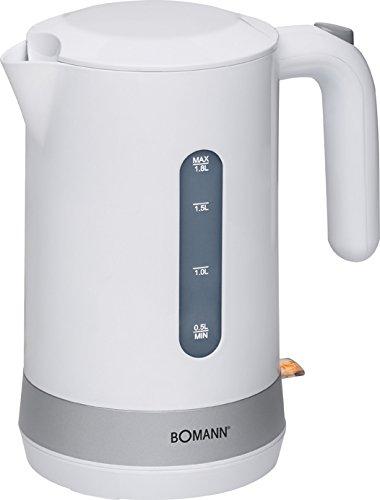 Bomann WK 5012 CB Hervidor de agua eléctrico, capacidad 1,8 litros, blanco plata, 2200W, 2200 W, 1.8 litros, Acero Inoxidable