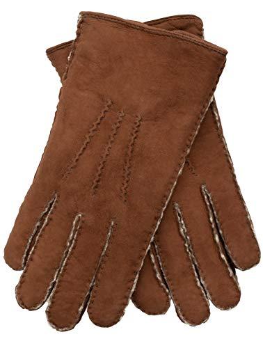 EEM Herren Handschuhe LIAM aus weichem Neuseeland Curly Lammfell, handgenäht, braun, S