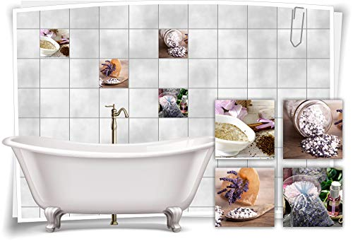 Adhesivo para azulejos SPA Wellness Lilas, aroma lila, agua y sal, 10 x 10 cm, fp5p606q-136094
