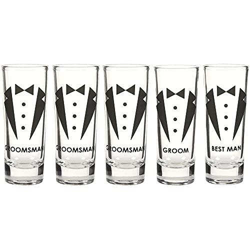 Blue Panda Party Favors Shot Glasses - Bachelor Shot Glasses with Tuxedo and Groom, Best Man & Groomsman Prints- Set of 5, 2 oz Each