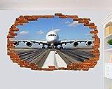 Yxsnow 3D Pegatinas de pared Entrada de avion Extraíble Agujero en la pared Vinilo Decorativo Pegatinas Vista de Efecto Adhesivos De Pared