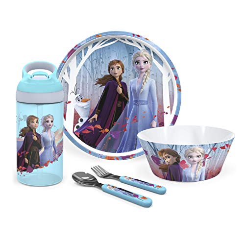 Zak Designs Disney Frozen II Movie Dinnerware Set Includes Plate, Bowl, Water Bottle, and Utensil Tableware, Made of Durable Material and Perfect for Kids (Elsa & Anna, 5-Piece Set, BPA-Free)