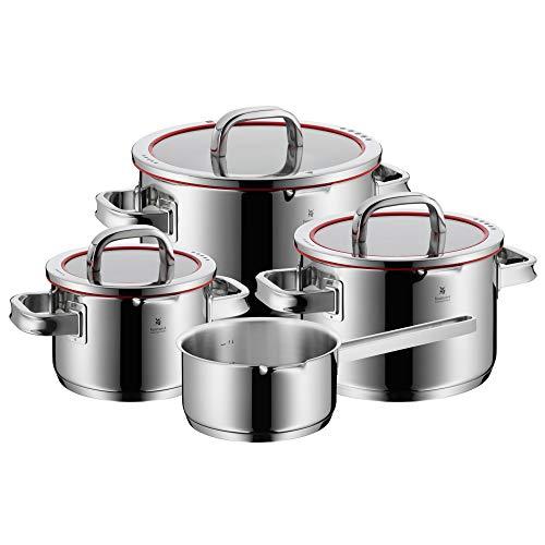 WMF Function 4-Batería de Cocina, 4 Piezas, 3 ollas Altas (1,9 litros), Ø20cm (3,9 litros) y Ø24cm (5,7 litros) con Tapa y 1 cazo Ø16cm (1,4 litros), Acero Inoxidable Cromargan 18/10