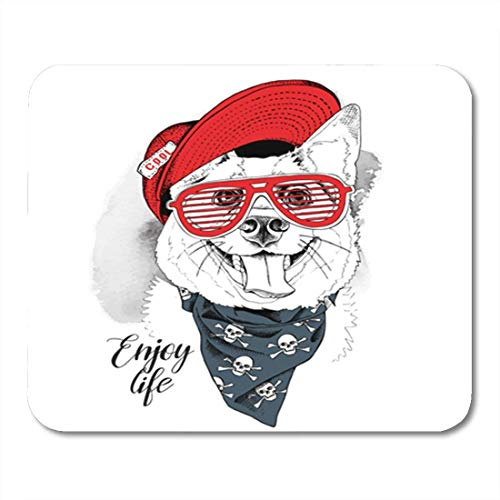Gaming Mouse Pad Nettes Porträt des lächelnden Hundes in der roten Kappe Grillgläser Krawatte Welpenzähne Tierdekor Büro rutschfestes Gummi Backing Mousepad Mouse Mat