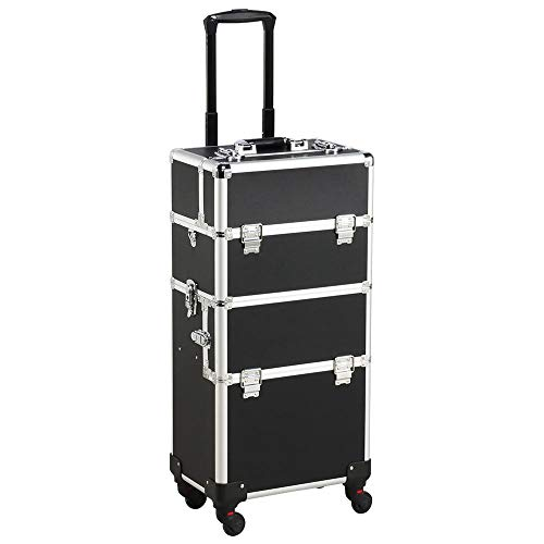 Yaheetech 3-in-1 Cosmetic Case Large Professional Makeup Case Organizer with Compartments Makeup Beauty Nail Trolley Bag Box on Wheels Black