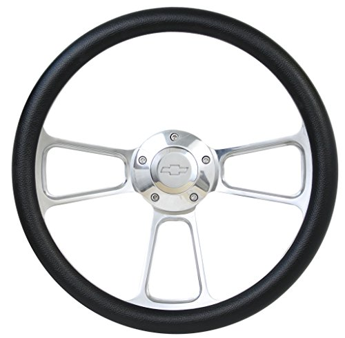 Forever Sharp 14' Billet and Black Vinyl Wheel with Chevy Horn