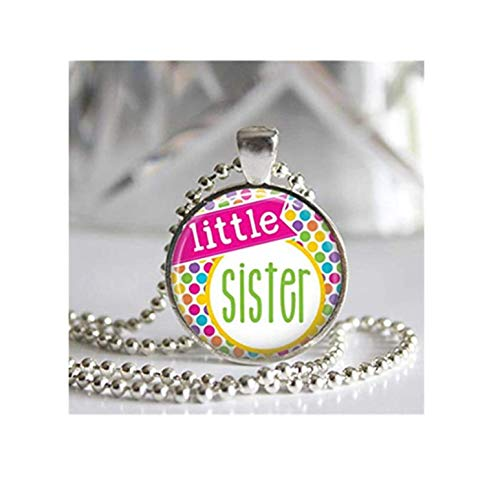 Collar con colgante de bisel plateado de cristal de Little Sister, colección colorida, un hermoso regalo.