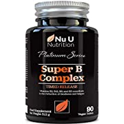 Vitamin B Complex - 8 High Strength B Vitamins & Vitamin C - Vitamins B1, B2, B3, B5, B6, B8, B9 & B12, 90 Timed Release Tablets, 3 Month Supply, Vegan & Vegetarian VIT B Complex