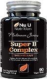 Complejo de Vitamina B - 8 Vitaminas B de Alta Potencia y Vitamina C - Vitaminas B1, B2, B3, B5, B6, B8, B9 y B12-90 Comprimidos de Liberación Sostenida - Suministro Para 3 Meses - Vegano