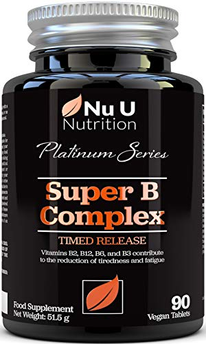 Vitamin B Complex - 8 High Strength B Vitamins & Vitamin C - Vitamins B1, B2, B3, B5, B6, B8, B9 & B12, 90 Timed Release Tablets, 3 Month Supply, Vegan & Vegetarian VIT B Complex