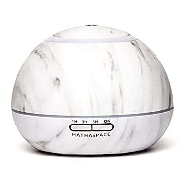 Hathaspace Marble Essential Oil Aroma Diffuser, 300ml Aromatherapy Fragrance Diffuser & Ultrasonic Cool Mist Room Humidifier, 16 Hour Capacity, BPA-Free, 7-Color Optional Ambient Light (White)
