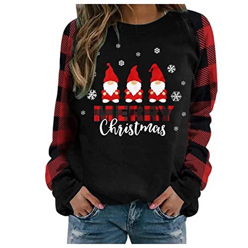 CCOOfhhc Sudadera de Navidad sin capucha para adolescentes y niñas, tallas grandes, manga larga, jersey de Navidad, divertido y extragrande, con impresión de enano, Negro , L